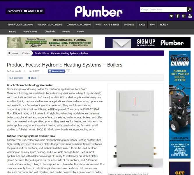 Infloor featured in plumber magazine for Warmboard alternative