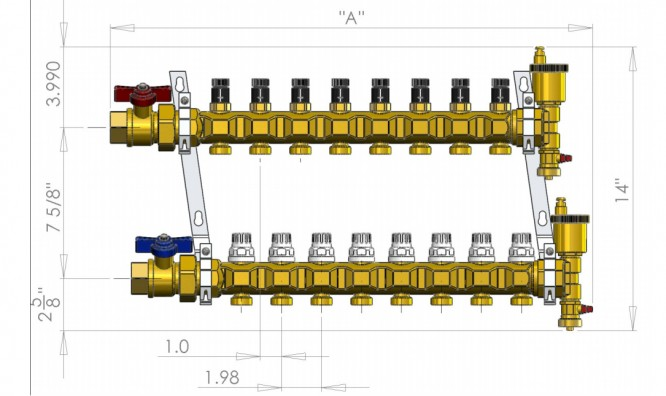 Infloor brass manifolds mean business for Come collegare pex pipe al rame